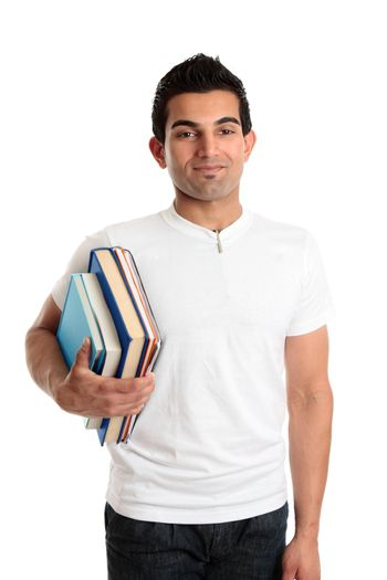 Man at library, bookstore or student