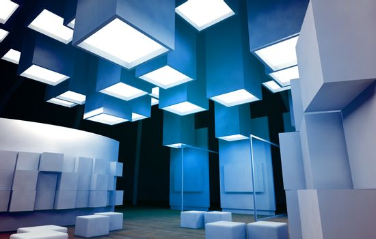 Art gallery with blank frames, modern building, conceptual architecture in blue colors