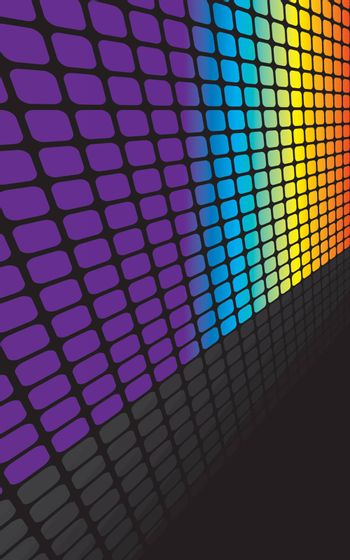A rainbow colored abstract vector illustration with reflections and copyspace.