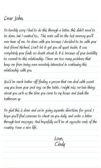A neatly written sample dear john letter in vector format that a woman wrote to break up with her boyfriend or husband.