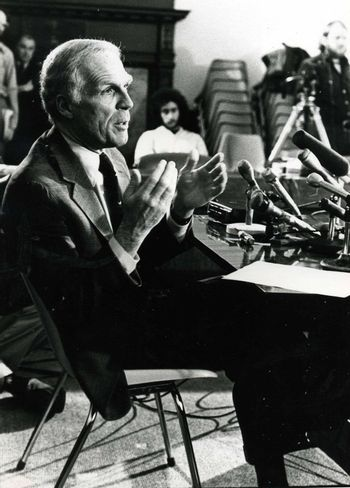 Former Boston Mayor Kevin White in 1979 at a meeting in City hall