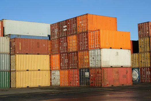 Containers waiting to be loaded in an intermodal yard