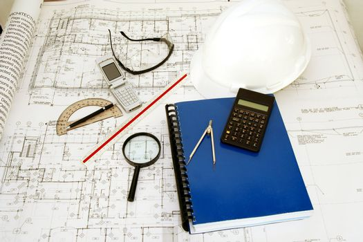 Engineering (Architecture) Drawings with hat, calculator and accessories