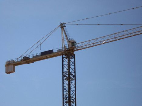 A closeup of a tall crane