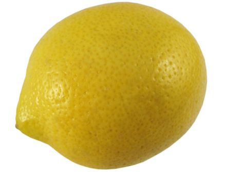 A fresh yellow lemon isolated on a white background.