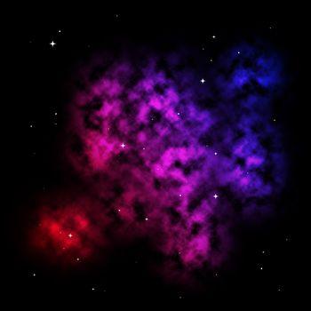 A colorful nebula scene with stars.