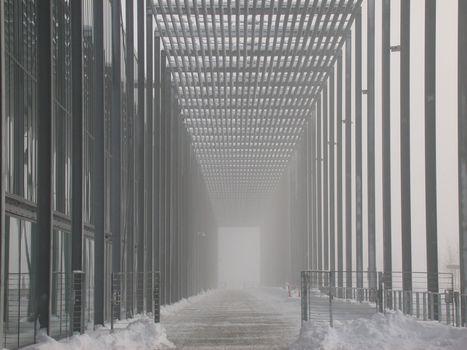 Lillestrom, misty morning in Norway