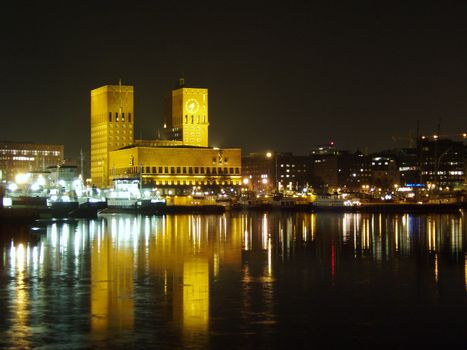 Oslo townhall at newyearseve, the place where the nobel peaceprice is given 10 of december each year