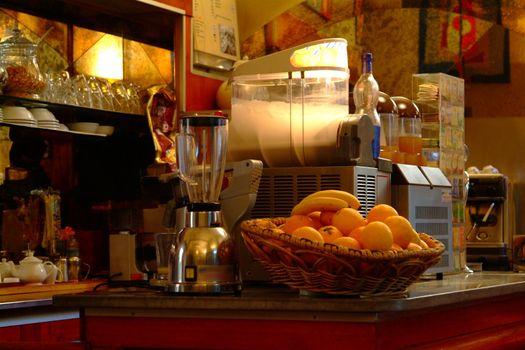 cafe bar, kaffeemachine, orangen
