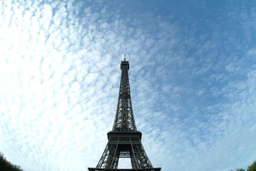 eiffel tower by blue sky