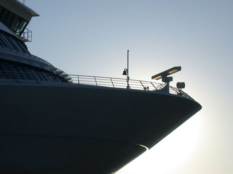 Cruiser at dawn, with radar and bell