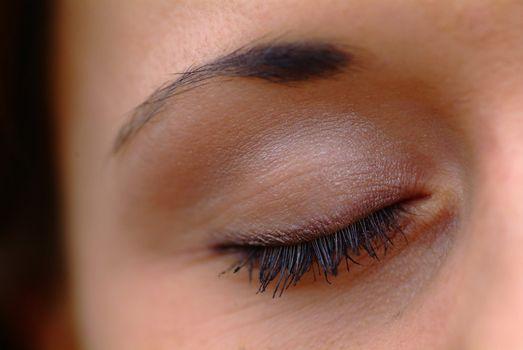 female eye shut
