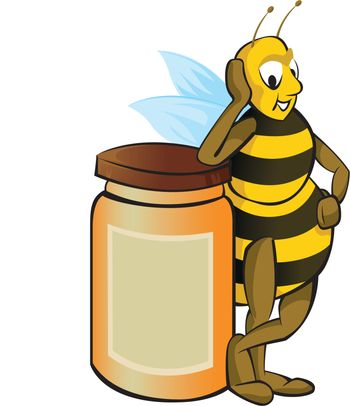 Honey bee with honey container