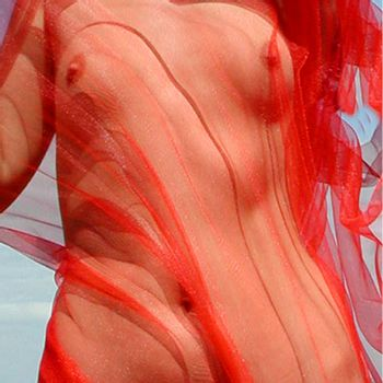 femal torso in red cloth