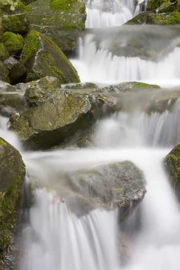 Detail of the cascades of a mountain creek