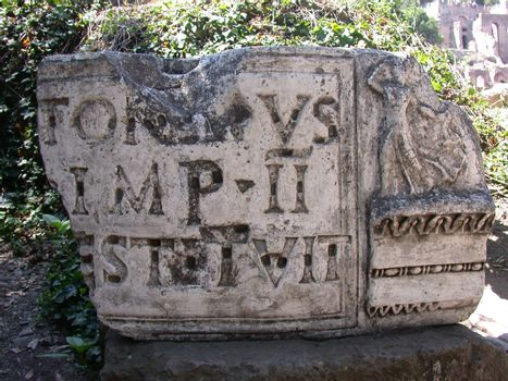 Roman capitals cut in marble