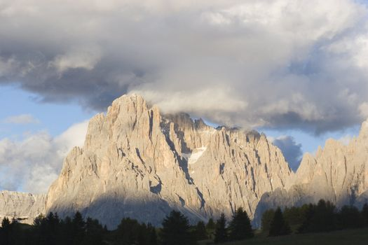 Panoramic view of the Langkofel at sunset - Dolomites - Italy