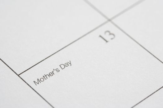 Close up of calendar displaying Mothers Day.