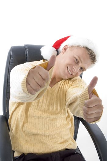 man showing both thumbs up on an isolated background