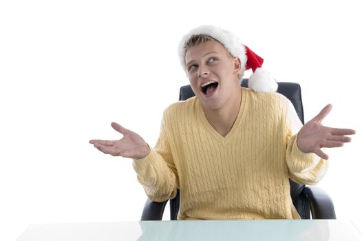 careless male wearing christmas hat on an isolated white background