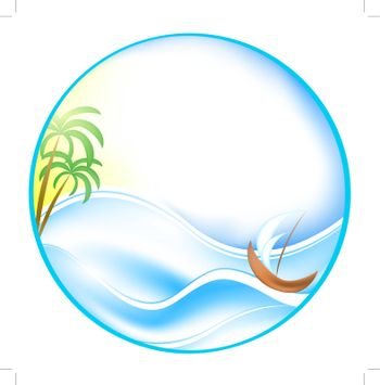 Summer theme with sea, boat and palms in round shape