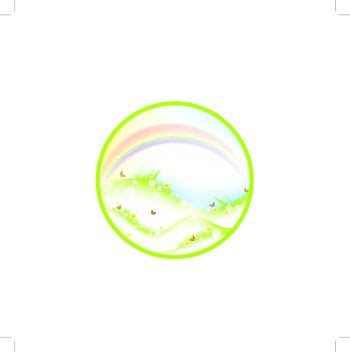Summer or spring theme with meadow, rainbow and butterflies in round shape, EPS10