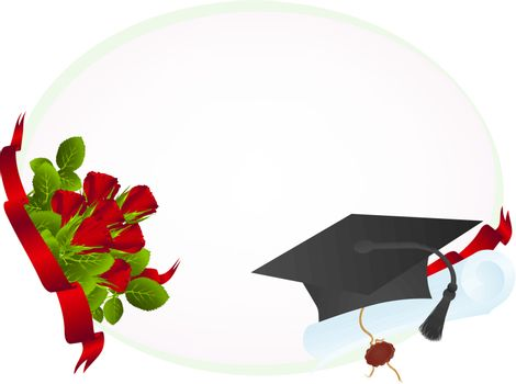 Education theme: frame with roses, graduate hat and diploma, copyspace