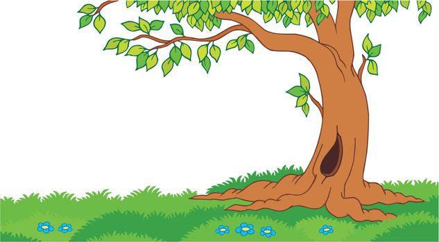 Tree in grassy landscape
