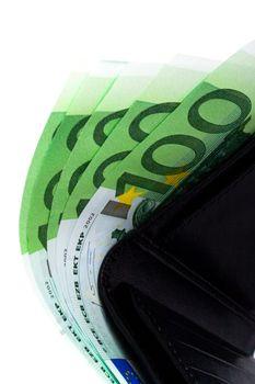 euro and a leather purse