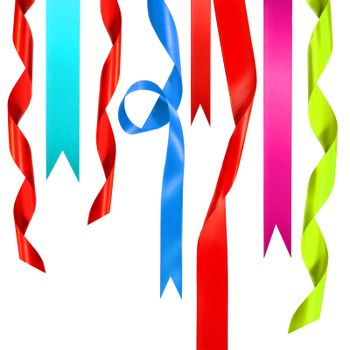 Colored ribbons hanging down on white