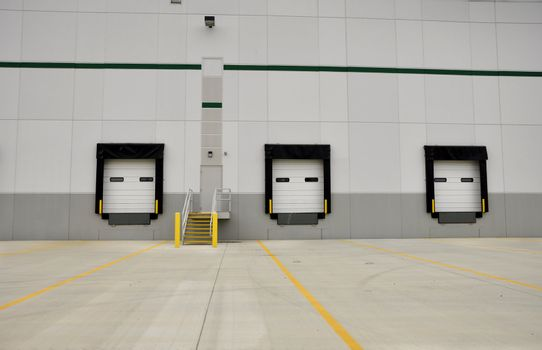 industrial loading docks for a large warehouse