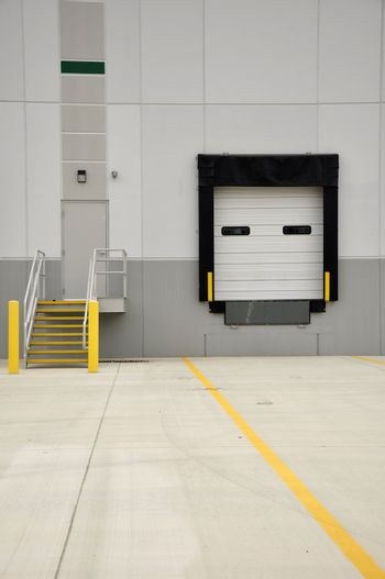 industrial loading dock and stairs for a large warehouse