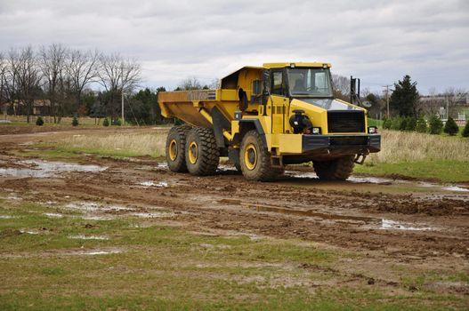 large dump truck at a construction site