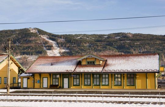 A local norwegian train station in the town of Vikersund