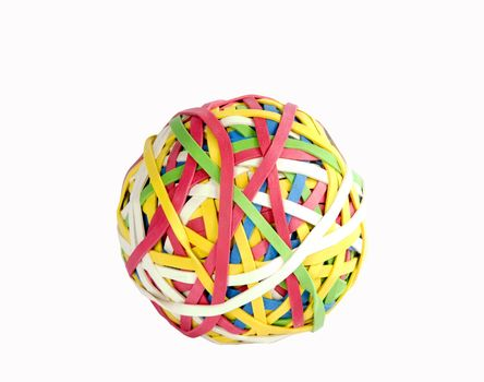 A ball of rubber bands isolated on white with clipping path.