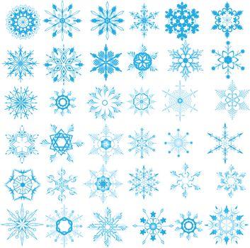 Christmas snowflakes on white background