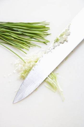 Chives with knife.