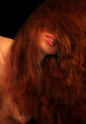 red lips of redhead