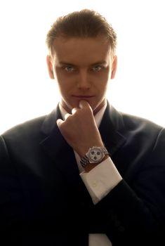 slihouette portrait of elegant business man