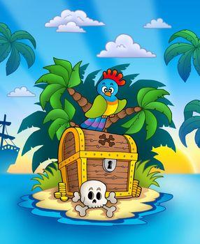Treasure island with sunset