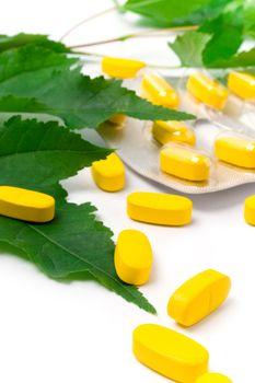 yellow vitamin pills