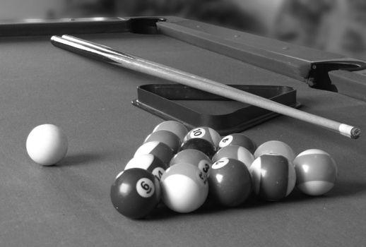 billiard table with billiard's balls