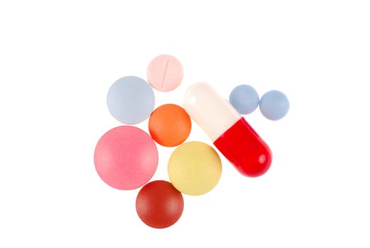 Macro of pills isolated on white background