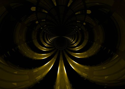 Abstract golden space tunnel that would make an ideal background