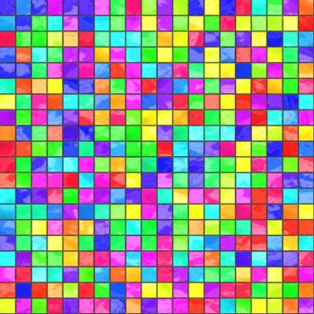 multicolored small neon tiles background, tiles seamlessly as a pattern