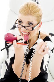 screaming businesswoman