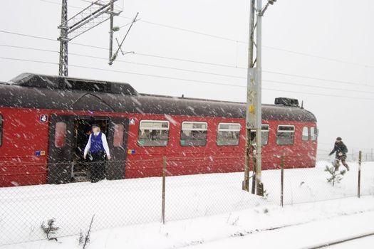 A train at Ljan train station, in Oslo, Norway.