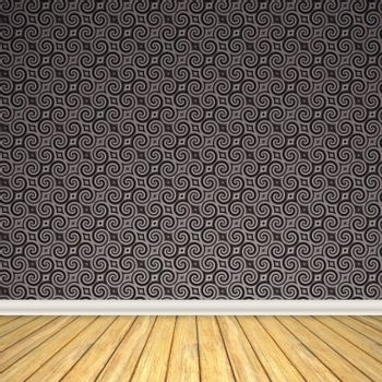 An empty room interior backdrop with hard wood flooring and a vintage styled wallpaper pattern.