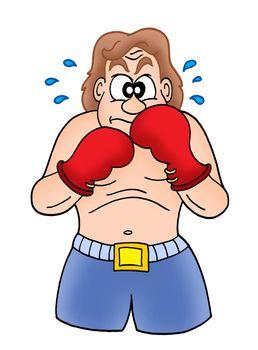 Boxer in blue shorts - color illustration.