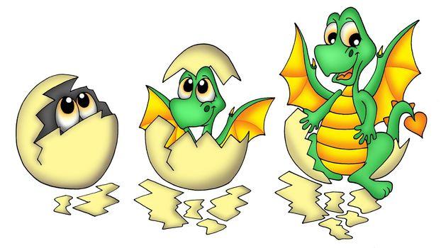 Egg and dragon - color illustration.